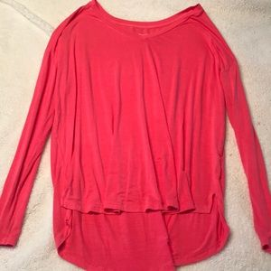 Neon coral super soft V-neck long sleeve tee